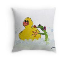 Frog and Rubber Ducky Throw Pillow