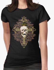 Ornate Skulls, Fleur de Lis and Tattoo Look Graphic Tee T-Shirt