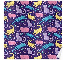 Playful Kittens Pattern Poster