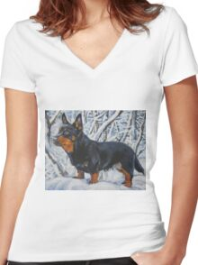 Lancashire Heeler  Fine Art Painting Women's Fitted V-Neck T-Shirt