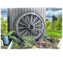 Historic wooden wagon wheel Poster