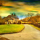 Downham Village &amp; Countryside , full pano.  by Irene  Burdell