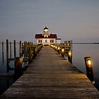 Roanoke Marshes Lighthouse At Dusk by D. K. Sutton