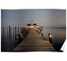 Roanoke Marshes Lighthouse At Dusk Poster