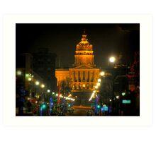 Des Moines Capital At Night Art Print