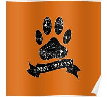 Distressed Dog Paw With Ribbon Poster
