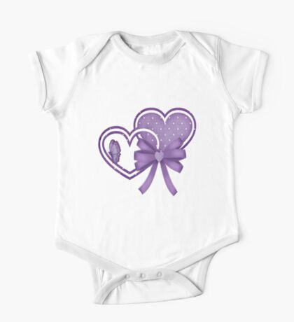 Lilac Hearts One Piece - Short Sleeve