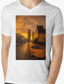 Downtown Mornings Mens V-Neck T-Shirt