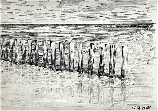 THE NORTH SEA BEACH - PEN DRAWING by RainbowArt