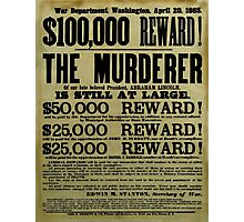 John Wilkes Booth Wanted Poster Photographic Print