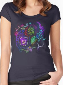RETRO-Psychedelic Floral Women's Fitted Scoop T-Shirt