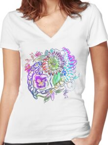RETRO-Psychedelic Floral Women's Fitted V-Neck T-Shirt
