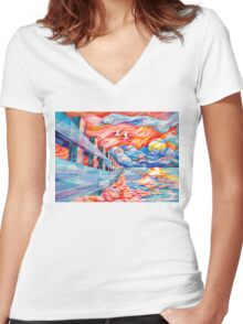 flight of the egrets Women's Fitted V-Neck T-Shirt