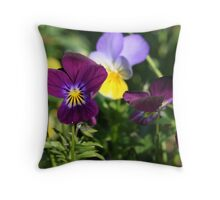 Playful Pansies Throw Pillow