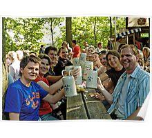 Happy beer drinkers at Erlangen Fair, Germany. Poster