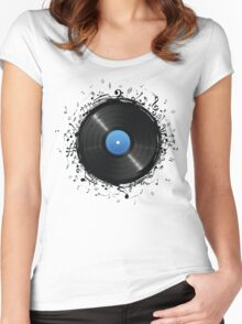 33 Vinyl Record Music Notes Women's Fitted Scoop T-Shirt
