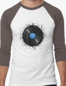 33 Vinyl Record Music Notes Men's Baseball ¾ T-Shirt