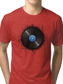 33 Vinyl Record Music Notes Tri-blend T-Shirt