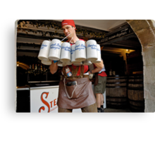 Waiter with 12 krugs of beer, Erlangen Fair, Germany Canvas Print