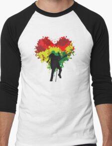 Bob Marley Dreadlock Rasta Heart Men's Baseball ¾ T-Shirt