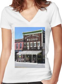 Silver Dollar Saloon, Leadville, Colorado Women's Fitted V-Neck T-Shirt