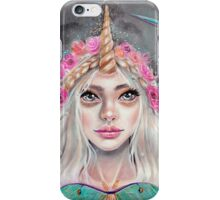 Nymeria and the Luna Moths, Unicorn Girl iPhone Case/Skin