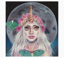 Nymeria and the Luna Moths, Unicorn Girl by KimTurner