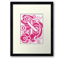 Negative Space Pink Ribbon Abstract Breast Cancer Awareness Tee Framed Print