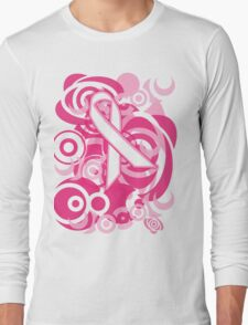 Negative Space Pink Ribbon Abstract Breast Cancer Awareness Tee Long Sleeve T-Shirt