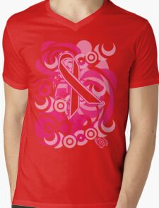 Negative Space Pink Ribbon Abstract Breast Cancer Awareness Tee Mens V-Neck T-Shirt