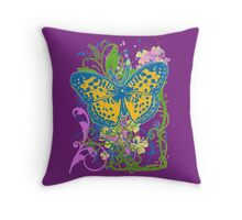 Pretty Butterfly with Artistic Scrollwork Throw Pillow