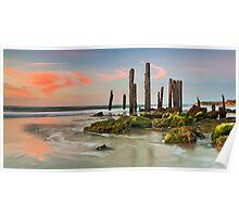 Port Willunga Jetty Ruin Sunset Poster