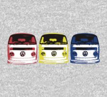 VW Kombi - Red Yellow Blue Kids Tee