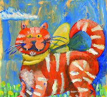 Moggy - Hand drawn on A5 paper gift bag.  by Penny Lewin - Hetherington