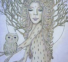 Dryad in the moonlight by Lilaviolet