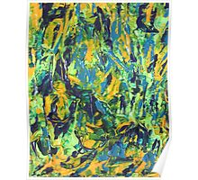 Abstract Green & Yellow Painting  Poster