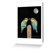 Bee eaters by moonlight Greeting Card