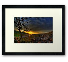 Sunset over limestone pavement, Malham Framed Print