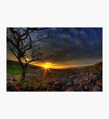 Sunset over limestone pavement, Malham Photographic Print