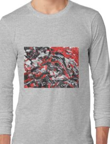 Dramatic Red, Black & White Design  Long Sleeve T-Shirt