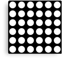 white polka dots in black background Canvas Print