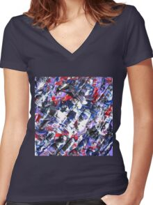 Original Abstract Design  Women's Fitted V-Neck T-Shirt