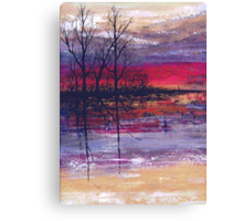 Sunset Over Flooded Fields Canvas Print
