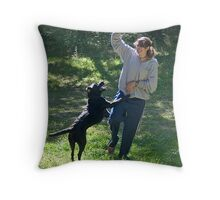 Playtime! - Girl With Lab Throw Pillow