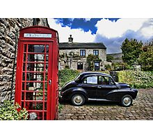 Phonebox and Morris Minor, Low Row Photographic Print