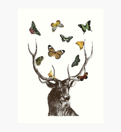The Stag and Butterflies Art Print