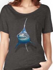 Great White Shark Poping Out From The Zipper Women's Relaxed Fit T-Shirt
