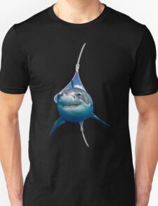 Great White Shark Poping Out From The Zipper Unisex T-Shirt