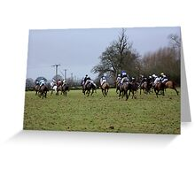 Hayes Golden Button Challenge - horse racing 2011 Gloucestershire Greeting Card