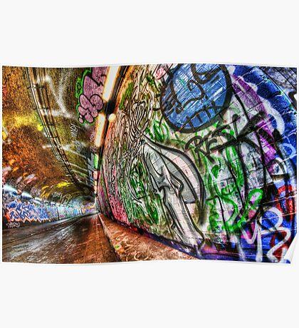 Graffiti tunnel, London Waterloo Poster